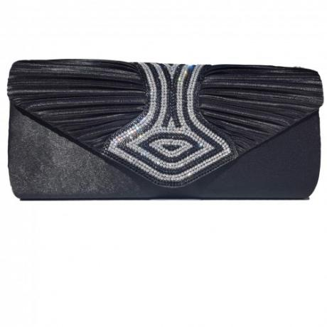 Дамска сатенена чанта с красиви кристали
