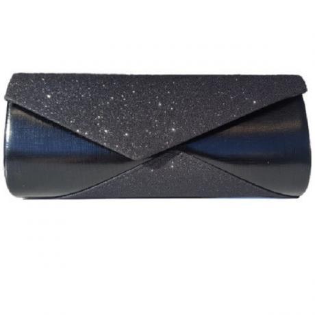 Елегантна официална дамска чанта с брокат и кожени елементи