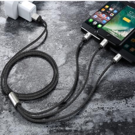 3 в 1 Универсален USB кабел за зареждане на телефони и таблети