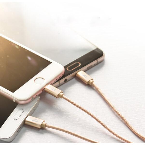 Компактен Micro USB кабел 3 в 1 за зареждане и трансфер на данни за смартфони