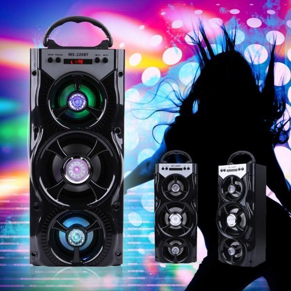 Мощна безжична Bluetooth тонколона с три говорителя и цветомузика