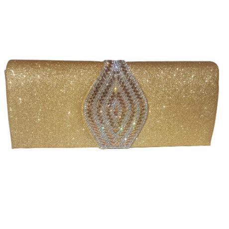 Дамска чанта подходяща за бал или коктейл с брокат и кристали