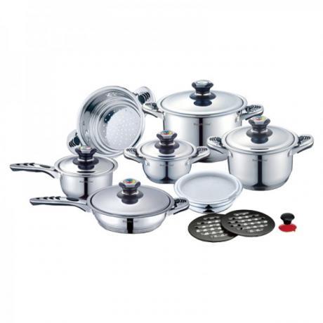 Комплект за готвене - тенджери, тиган, касерола, купа и съд за готвене на пара от 16 части Royalty Line