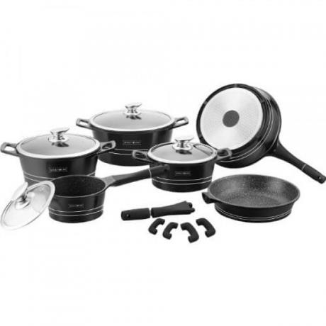 Професионален кухненски комплект (тенджери и тигани) с мраморно покритие в черен цвят от 14 части Royalty Line