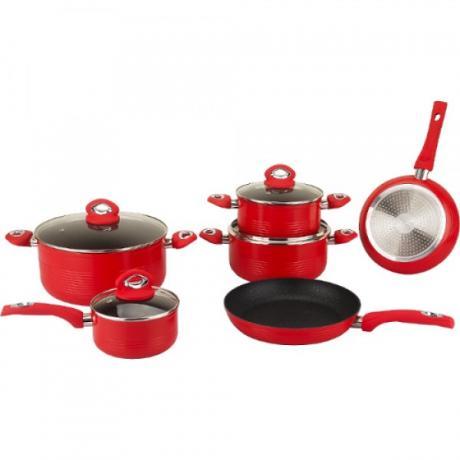 Луксозен комплект кухненски съдове с мраморно покритие от 10 части Royalty Line