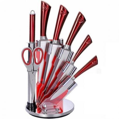 Швейцарски ножове от неръждаема стомана в комплект с ножица, точило и въртяща се поставка Royalty Line