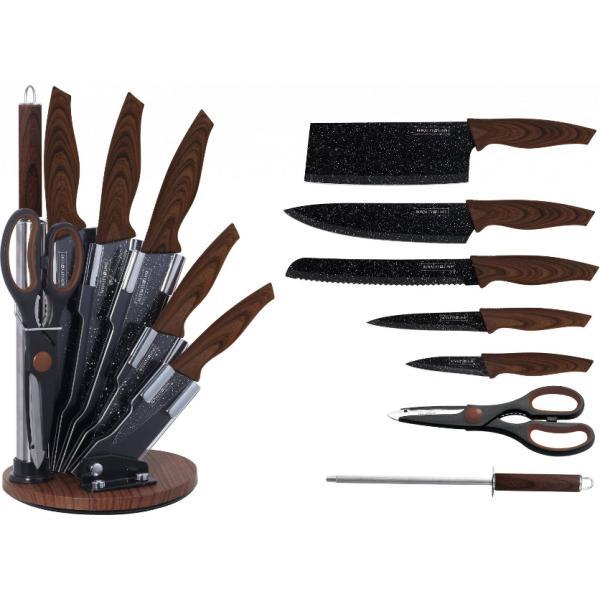 Екстравагантен сет от 5 висококачествени стоманени ножове с мраморно покритие , ножица и точило с дръжки тип махагон.