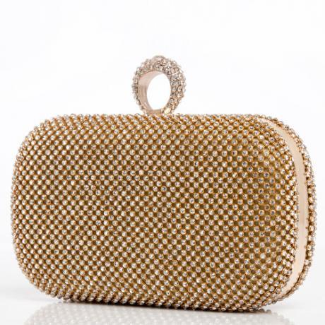 Елегантна дамска златна чанта клъч с блестящи камъни