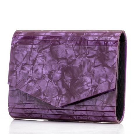 Ефектна дамска лилава чанта имитираща мрамор