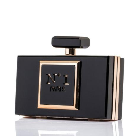 Изящна дамска чанта във формата на френски парфюм