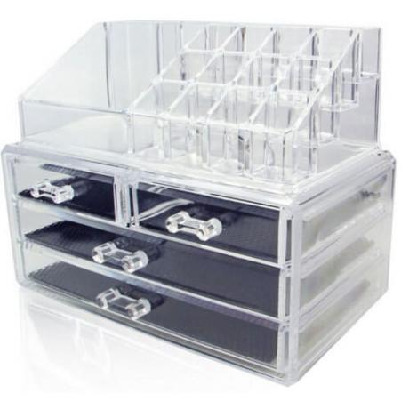 Стилен прозрачен органайзер за бижута и козметични продукти от две части