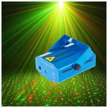 Двуцветен диско лазер с режим на музикална синхронизация