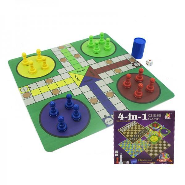 4 в 1 Настолни игри - Шах, Дама, Не се сърди човече и Змии и стълби