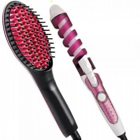 Комплект четка за изправяне и изсушаване на коса и маша за идеални къдрици